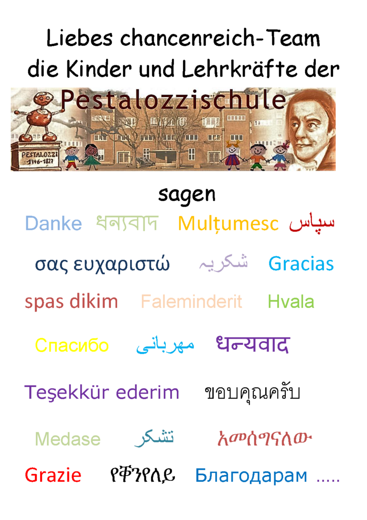 Dankesbrief Pestalozzischule